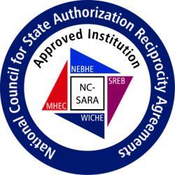 Round logo displaying a blue circle with a 4 colored square in the center. The words on the logo spell out: National Council for State Authorization Reciprocity Agreements approved Institution. In the center are the words: NC-SARA